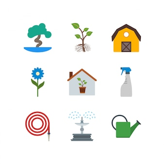 Set of gardening icons isolated on white background