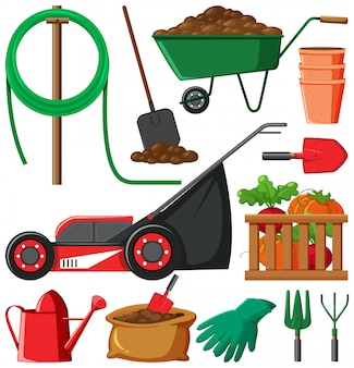 Set of gardening items isolated