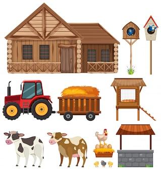 Set of gardening items on white background