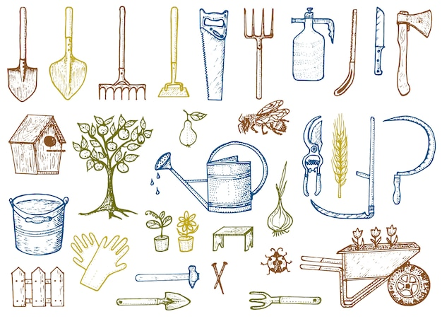 Set of gardening tools or items. hose reel, fork, spade, rake, hoe, trug, cart, lawnmower, elements collection.