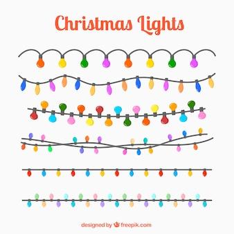 Set of garlands of colored lights