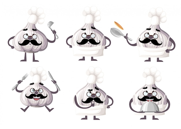 Set of garlic character . garlic mascot kitchen tools. the concept of a cook.  illustration  on white background. web site page and mobile app