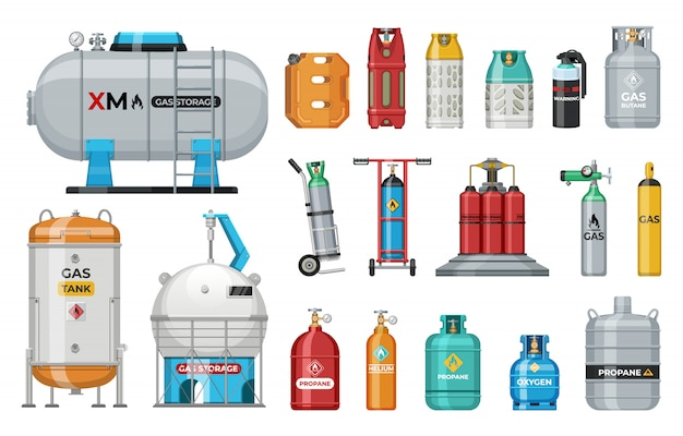 Set of   gas cylinder. safety fuel tank of helium butane acetylene