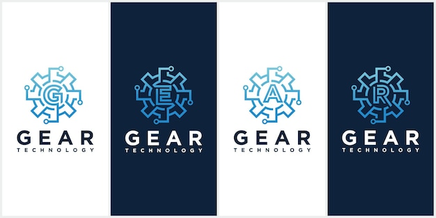 Set of gear technology vector logo templates.