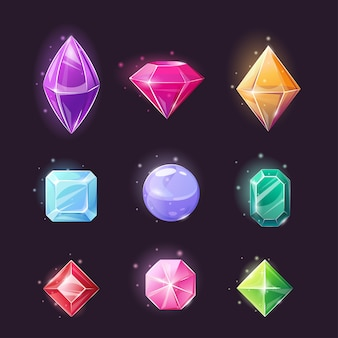 Set of gems, collection magical crystals of various shapes.