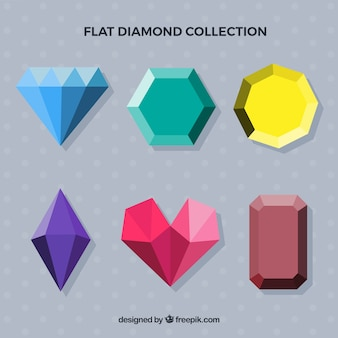 Set of gemstones in flat design