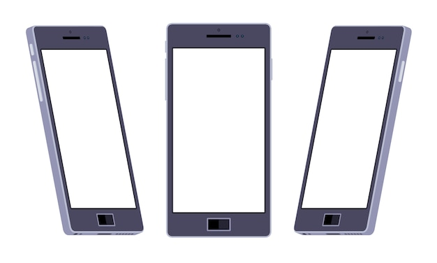 Set of the generic black smartphones. the objects are isolated against the white background and shown from different sides