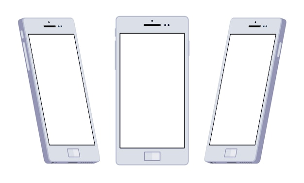 Set of the generic white smartphones. the objects are isolated against the white background and shown from different sides