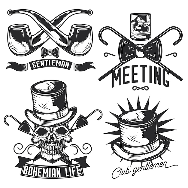 Set of gentleman emblems, labels, badges, logos.