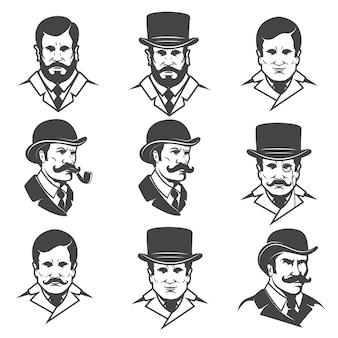 Set of gentleman's heads  on white background .  elements for , label, emblem, poster, t-shirt.  illustration.