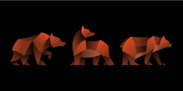 Set of geometric bear