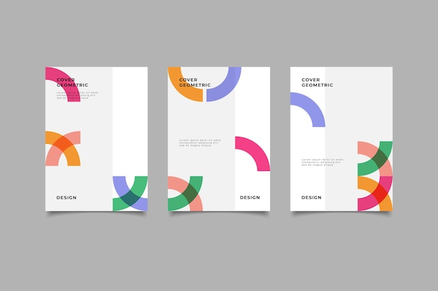Set of geometric business cover collection