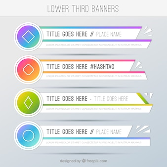 Set of geometric colored lower third banners