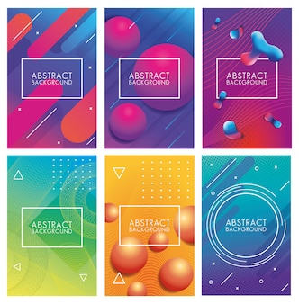 Set geometric colorful abstract backgrounds