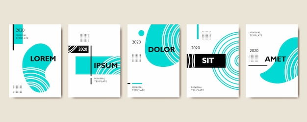 Set of geometric cover template