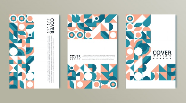 Set of geometric covers. collection of cool vintage covers. abstract shapes compositions
