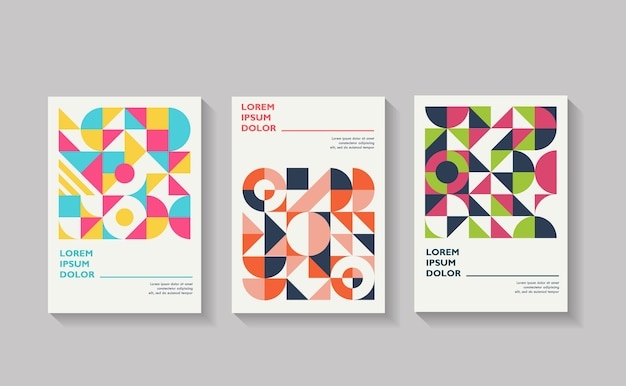 Set of geometric covers collection of cool vintage covers