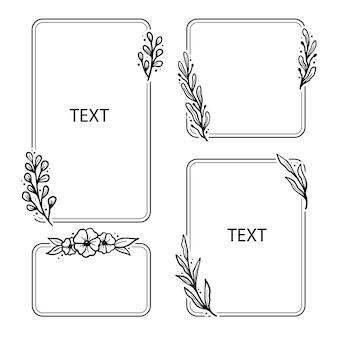 Set of geometric floral frame, border with leaves, wreaths, flower elements. hand drawn