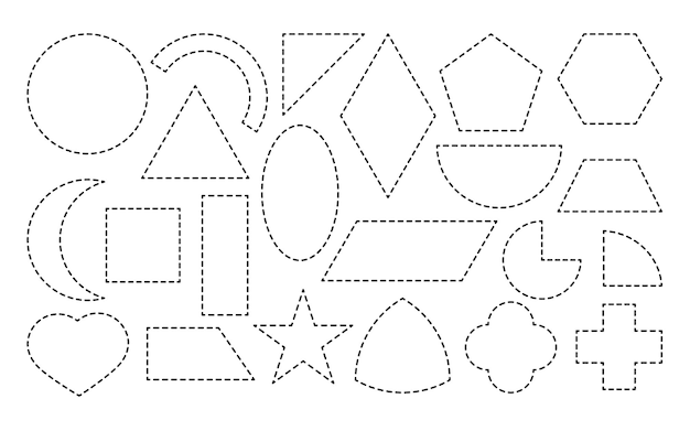 Set of geometric form drawn dotted line icon simple mathematical shapes square and rectangle ellipse triangle or other educational material for learning game isolated on white vector illustration