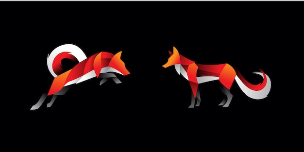Set of geometric fox