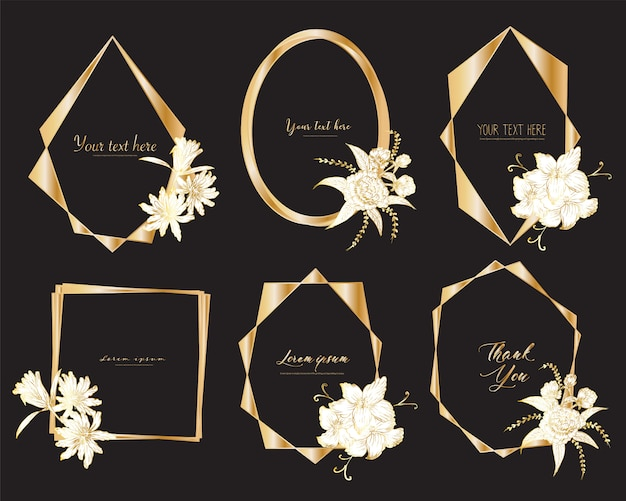 Set of geometric frame with hand drawn floral. botanical composition.
