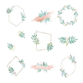 Set of geometric frame with leaves vector