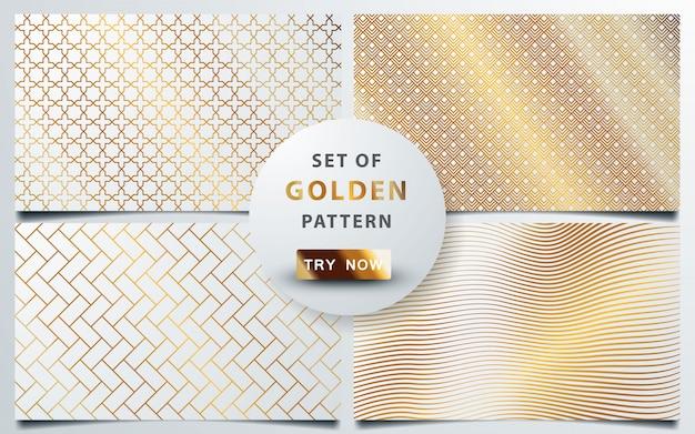 Set of geometric gold seamless pattern
