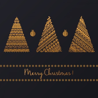 Set of geometric golden linear graphic christmas tree on black background
