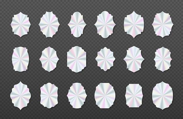 Set of geometric hologram labels vector flat illustration vector element for product guarantee