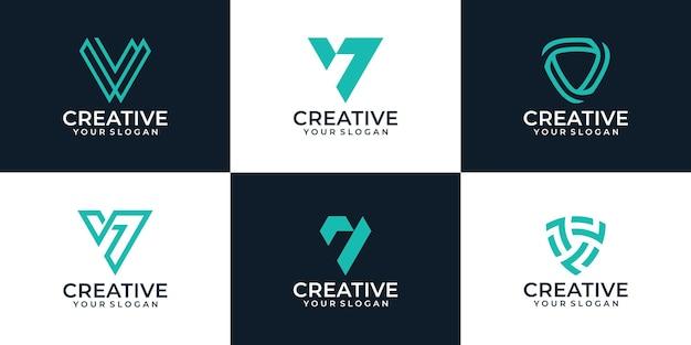 Set of geometric letter v logo design collection