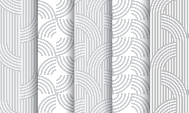 Set of geometric light grey striped seamless patterns