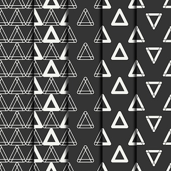 Set of geometric line seamless pattern with triangle.