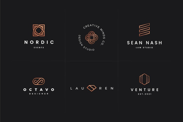 Set of geometric logo templates