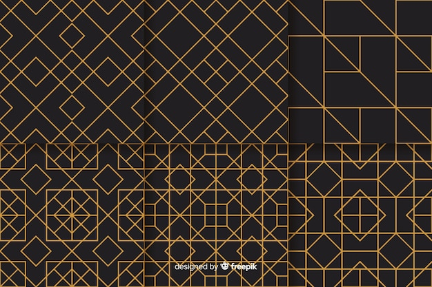 Set of geometric luxury pattern design