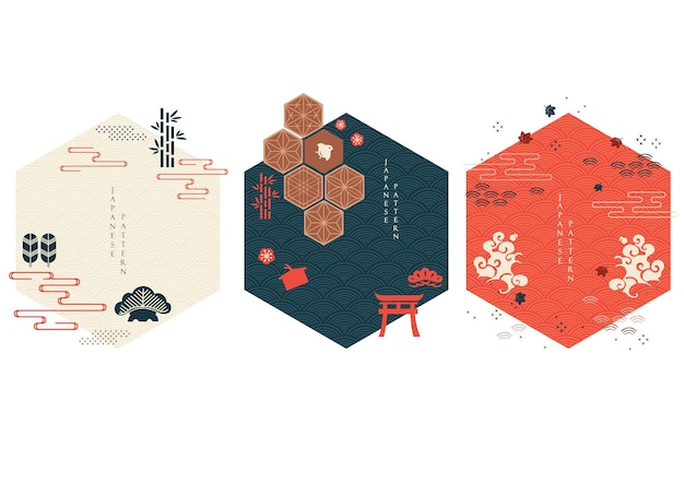 Set of geometric modern graphic elements vector. asian icons and symbol with japanese pattern. abstract banners with template for logo design, flyer or presentation in vintage style.