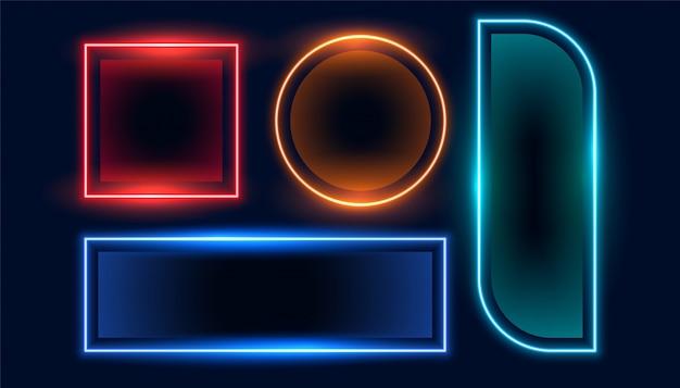 Set di banner geometrici neon cornice vuota impostata