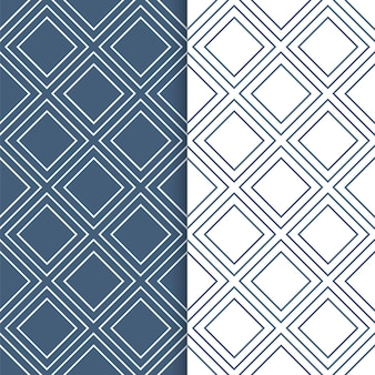 Set of geometric patterns. overlapping squares seamless in white and blue colors.