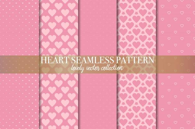 Set of geometric pink seamless patterns