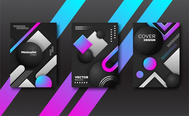 Set geometric  realistic cover background.