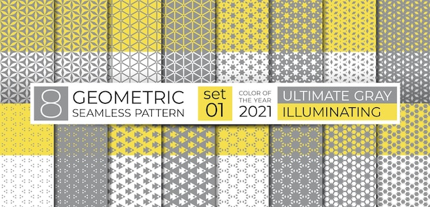 Set of geometric seamless pattern in ultimate gray, illuminating yellow. ethnic ornament. repeating abstract texture with line, polygon and star for background, web site backdrop, wallpaper, textile