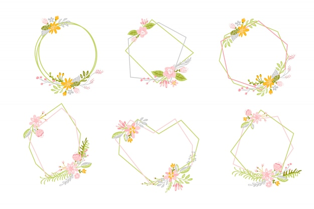 Set of geometric spring frames with flower