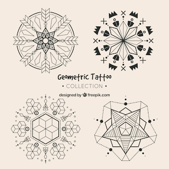 Set of geometric tattoos