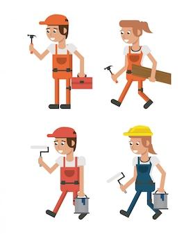 Set of geometric workers cartoons