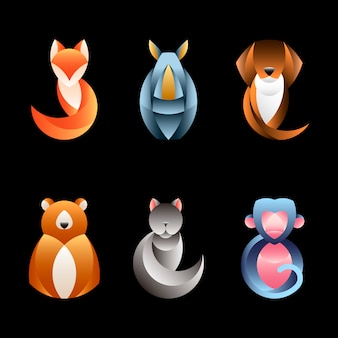 Set of geometrical animal design vectors