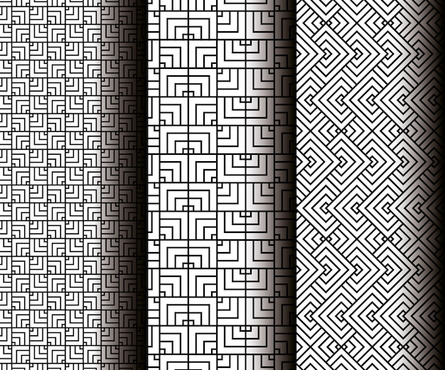 Set geometrics figures in grey seamless patterns