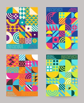 Set of geometry minimalistic backgrounds with simple geometric shapes and figures