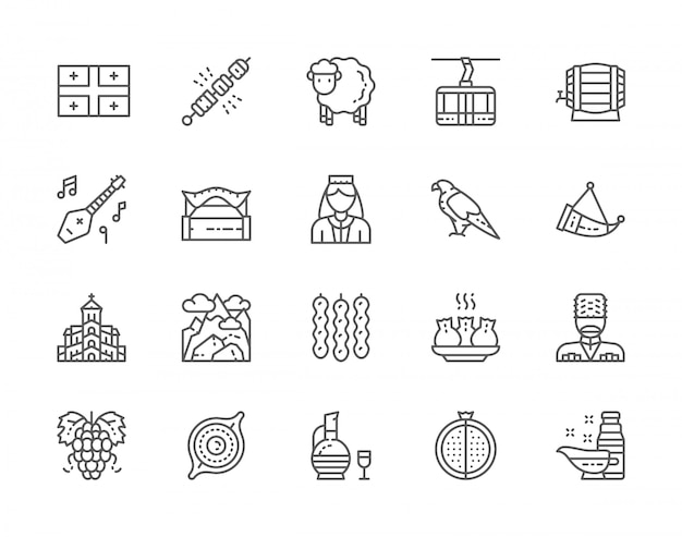 Set of georgian culture line icons