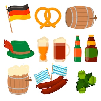 Set of german oktoberfest elements isolated.