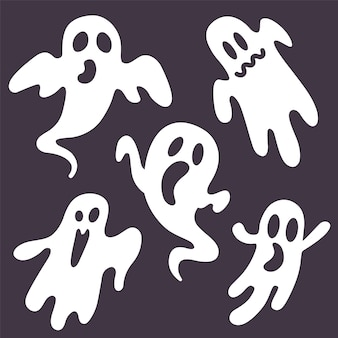 Set of ghosts on a black . flat