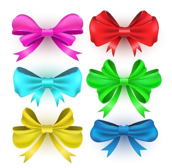 Set gift bows with ribbons